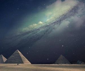 pyramid, egypt, and stars image