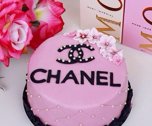 chanel, pink, and cake image