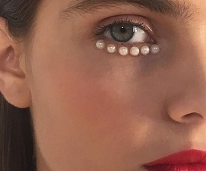 makeup, pearls, and beauty image