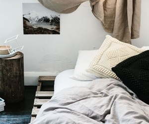 apartment, pallet bed, and bedding image