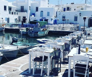 blue, Greece, and scenery image