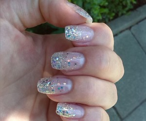 girly, nail art, and glitter nails image