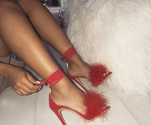 fashion, red shoes, and goals image