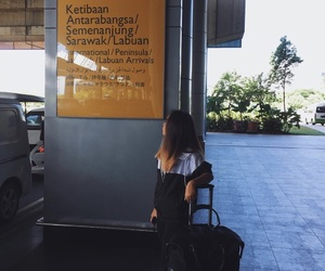airport, bag, and girl image