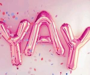 pink, yay, and pink ballons image