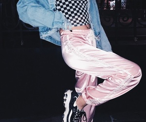 denim jacket, aesthetic outfit, and checkered shirt image