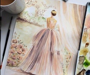 bride, drawing, and wedding dress image