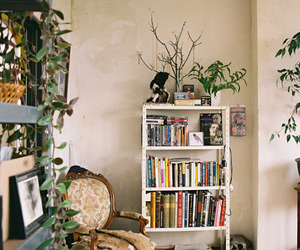 books, room, and plants image
