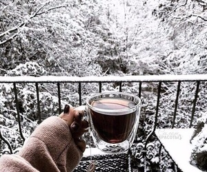 coffee, cold days, and snow image