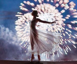 fireworks, dance, and dress image
