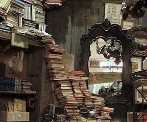 book, library, and mirror image
