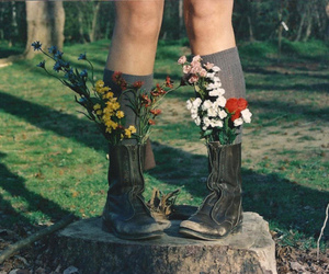 flowers, boots, and vintage image
