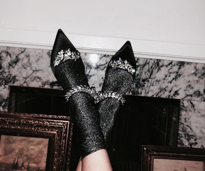 black, heels, and classy image