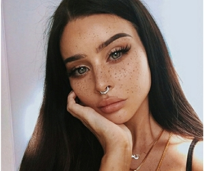 aesthetic, fake lashes, and freckles image