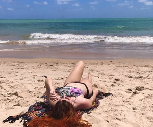 beach, ocean, and red hair image