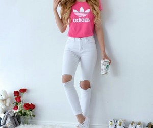 adidas, pink, and white image