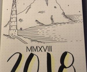 journal, lighthouse, and mountain image