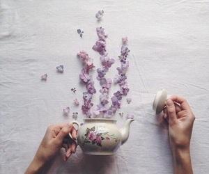 flowers, tea, and purple image