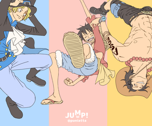 luffy, one piece, and sabo image