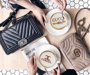 gucci, chanel, and coffee image