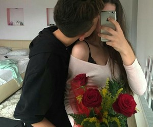 couple, romantic, and roses image
