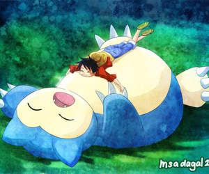 one piece, pokemon, and luffy image
