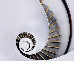 black and white and spiral stairs image