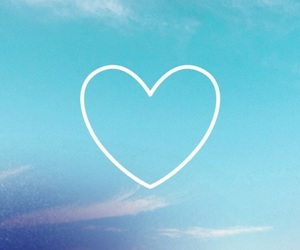 blue, heart, and sky image