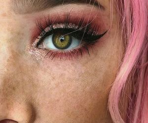 eyes, pink, and hair image