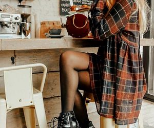 black tights, coffee shop, and plaid dress image
