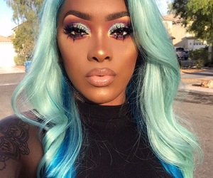 makeup, hair, and blue image