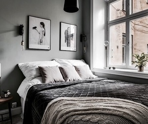 bedroom, design, and grey image