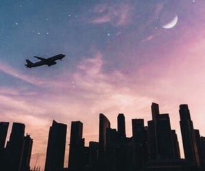 city, moon, and plane image