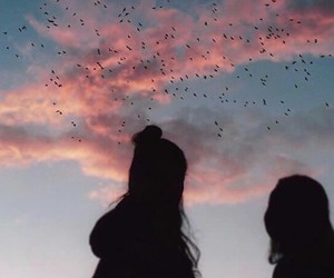 sky, pink, and birds image