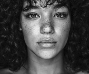 black and white, portrait, and curly hair image