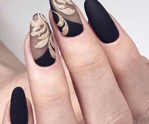 nails, black, and matte image