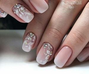 french design, rhinestones, and nail art image