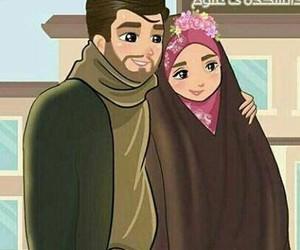 art, couple, and hijab image