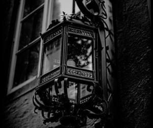 black and white, dark, and lamp image