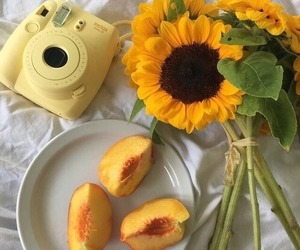 aesthetic, peach, and yellow image