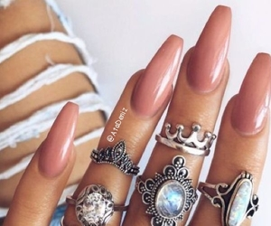 chic, denim, and nails image