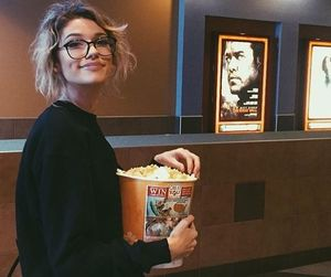 girl, cinema, and popcorn image