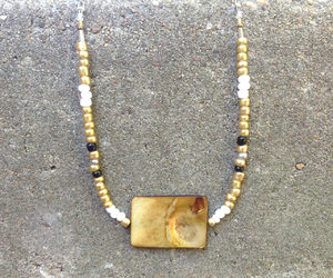 etsy, shell necklace, and white and gold image