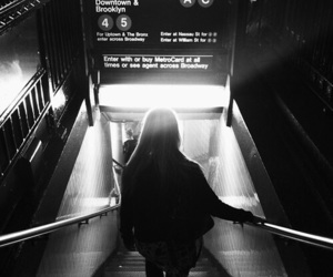 girl, black and white, and travel image