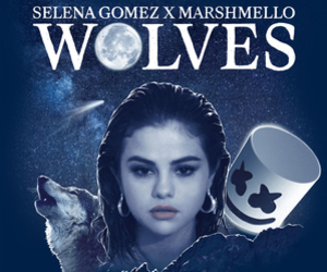 selena gomez, wolf, and marshmello image