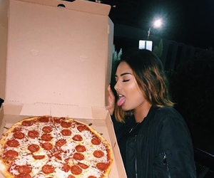 food, girl, and pizza image