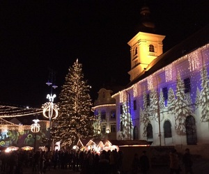 christmas, lights, and sibiu image