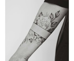 black&white, flowers, and girl image