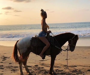 kelsey calemine, beach, and horse image