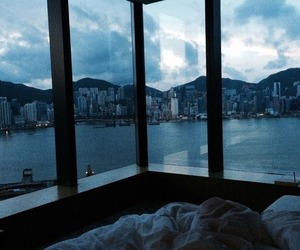 bed, bedroom, and city image